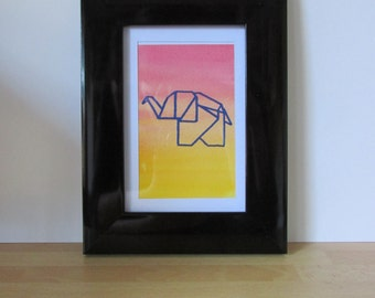 Blue Origami Elephant Handmade Screen Printed on Watercolour Background - 91x119mm - Print Only