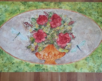 Hand-painted floorcloth 2' x 4'