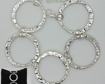 Antique Silver Circle Link Bracelet