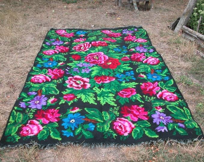 Bessarabian Kilim & area rugs, Handmade, Vintage. rose carpet, FLORAL Kilim Rug, Ukrainian, Bessarabian carpet