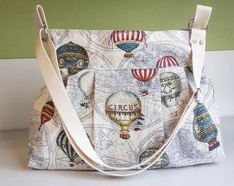 Large Diaper Bag, Hot Air Balloon Messenger, Large Messenger, Crossbody Bag, Shoulder Bag, Maternity Diaper Bag