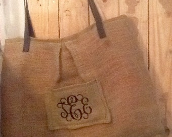 Monogram Large Pleated Burlap Tote/Market Bag/Purse