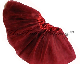 BURGUNDY TUTU . Little Girls to Adults Plus SIzes  . Short Tutu . 11in Length