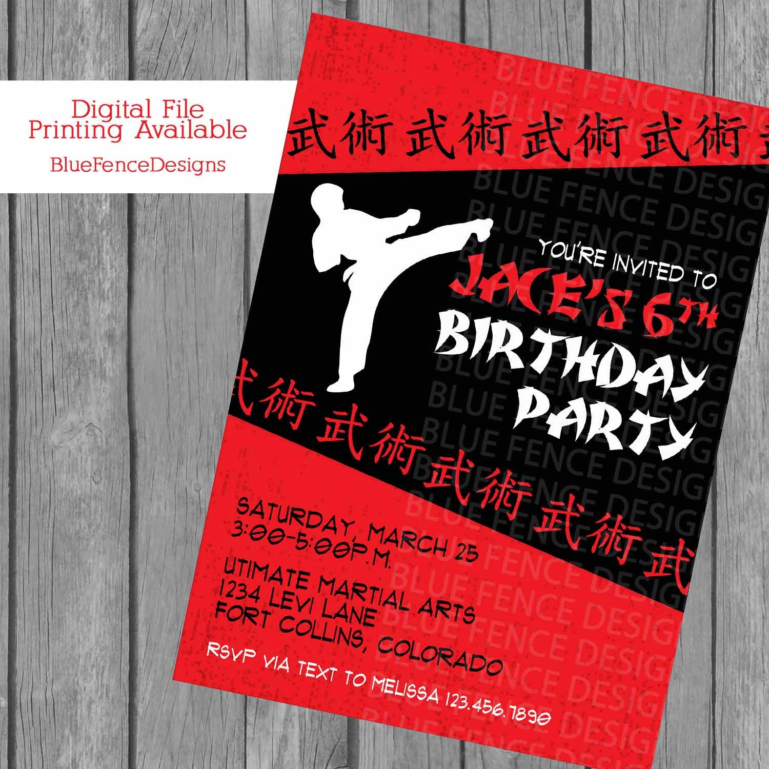 Boy Karate Birthday Invitation Karate Birthday Karate – Martial Arts Birthday Invitations