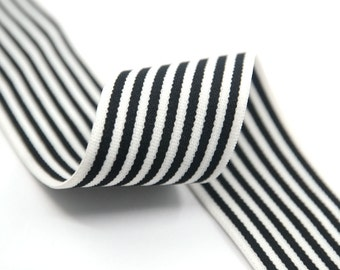 """1.5"""" 38mm wide Black Stripes Comfortable Plush White Elastic,Waistband Elastic,Soft Elastic, Elastic Band,Sewing Elastic By the Yard"""