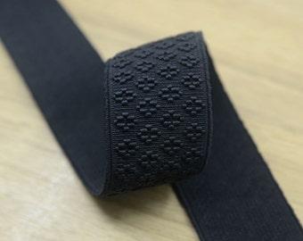 1.5 inch 38mm Wide Black Embroidery Jacquard Elastic Band ,Waistband Elastic by the Yard, Elastic Trim,Elastic Ribbon,Stretchy Elastic 33030