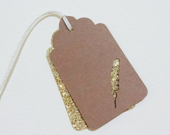 Feather Kraft/Glitter Gift Tags