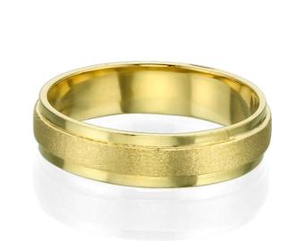Satin Center 14k Yellow Gold 5mm Men's Wedding Band
