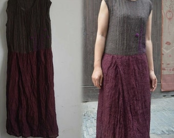 283--Bicolour Linen Dress with Hand-embroidery, Made to Order.