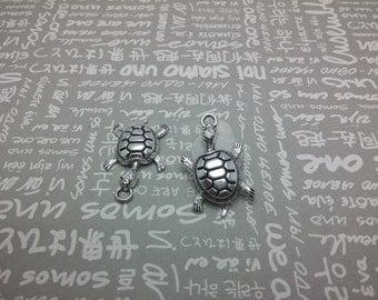 50pcs antique silver color metal tortoise pendant , metal tortoise charm , 36X22mm , CP1036
