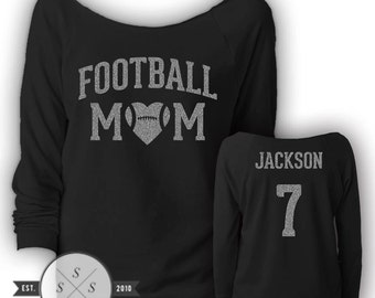 Customized Football Mom Ladies' Terry Raw-Edge 3/4-Sleeve Raglan Shirt