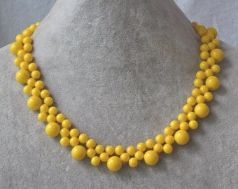 yellow bead Necklace, yellow Glass pearl bead Necklace, yellow Necklace, Wedding Necklace, bridesmaid necklace, statement necklace