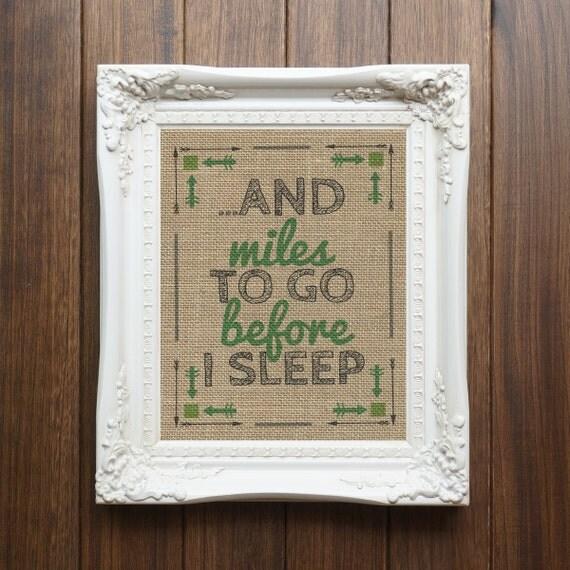 Robert Frost Quote Burlap Print Wall Decor Quote Print