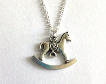 Rock-a-By Silver Rocking Horse Charm Pendant Necklace