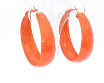 LARGE 2 inch THICK Hoop Earrings Classic Hoop Orange Hoop Earrings TEXTURED Hoops