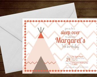 Printable Sleep Over Birthday Invitation-Print Yourself-Digital Invite
