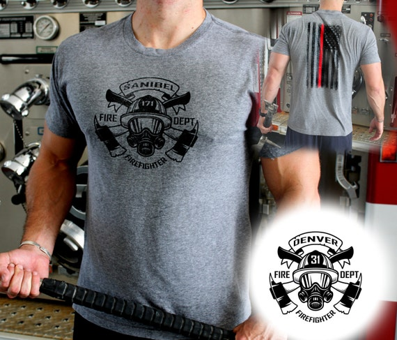 Custom Firefighter Shirt -Front/Back Design Your department and station / engine # on this shirt!