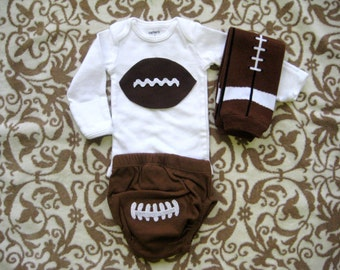 Baby Boy Football outfit with bodysuit,diaper cover & legwarmers/Boys Game Day outfit, Football outfit for boys/Football diaper/Football fan