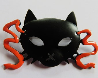 JJ Jonette Halloween Black Cat Mask Brooch Pin