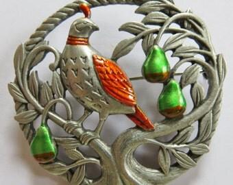JJ Jonette Christmas Holiday Partridge In A Pear Tree Brooch Pin