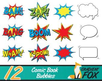 Comic Clipart , Superhero Clipart , Superhero Bubbles , Comic Text , Speech Bubble , Superhero Party - 12 Pack Instant Digital Download