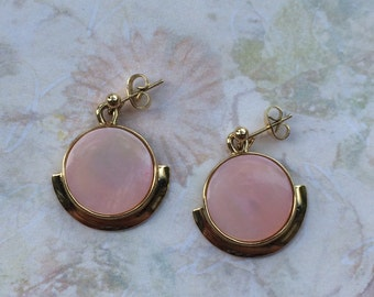 Vintage Pink and Gold Earrings