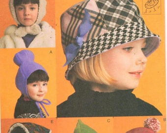 SALE *** Vogue 7811, 5 Style of Girls Hats, hard-to-find pattern designed by LoLa. Love the Bucket Hat and Green Pixie Hat!