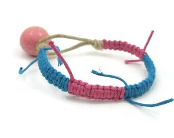Hemp bracelet pink and blue hemp bracelet for girls tweens teens ladies unique shabby chic bohemian hemp jewelry stacking summer bracelet