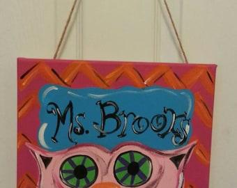 Funky Owl Classroom Door Sign