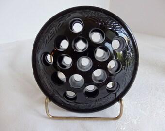 Vintage Black Glass Flower Frog. Art Nouveau Glass flower Frog