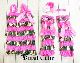 PINK CAMO Petti Lace Romper Leg Warmers Hair Bow Set Birthday Cake Outfit Newborn 3m 6m 9m 12m 18m 24m 2t