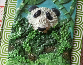 BABY PANDA in the FOREST-Handmade Polymer Clay Embellished Journal