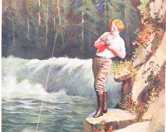Original Vintage  Fishing at the Falls Calendar Print