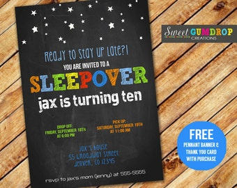 Colorful Sleepover Birthday Invitation - Printable - FREE pennant banner and thank you card with purchase