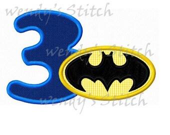 batman applique number 3 machine embroidery design digital pattern