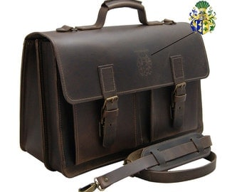 17.3 Inch Laptop bag, Briefcase NEWTON brown leather - Made in Germany