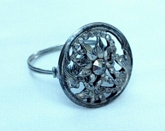 Repurposed Cut Steel Button Wire Wrapped Ring Size 7.5