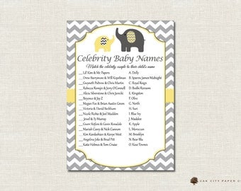Celebrity Baby Shower Game - Elephant Celebrity Baby Name Game, Celebrity Baby Name Quiz, Celebrity Baby Match Game, Yellow and Gray, DIY