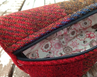 Harris Tweed, liberty of London, Red check, makeup bag, pencil storage, accessory case
