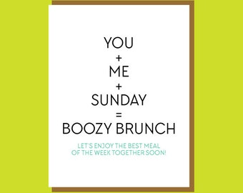Boozy Brunch - Funny Greeting Card. Miss You Card. Let's Get Together Card. Alcohol Card. Brunch Card. Funny Card for Friend. Champagne Card