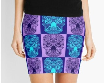 skirt with skulls, purple and blue skirt, present for daughter, skull art, prints of skulls, skulls on clothing, skull clothes, skull skirt