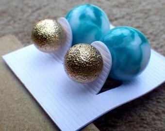 double boule boucles d 39 oreilles double faces de par artzoomjewelry. Black Bedroom Furniture Sets. Home Design Ideas