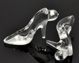 7 - Clear Acrylic High Heel Shoe Charms