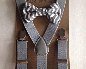 Boys suspenders with patterned clip on bow tie