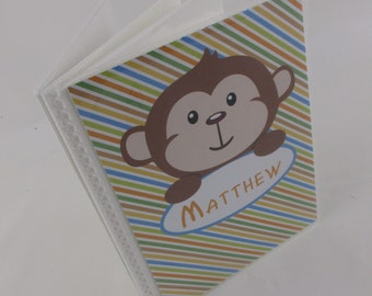Baby Photo Album boy photo album personalized photo album girl Grandmas brag book newborn baby shower gift 4x6 or 5x7 photo album monkey 136