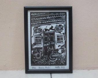 Penang, Malaysia, Framed Art Print, Linocut, 4x6 inches
