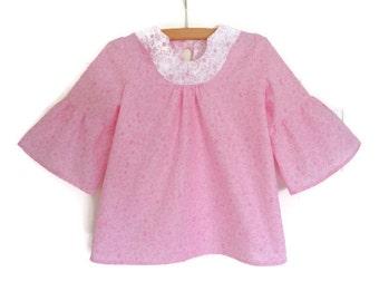 Girls boho blouse - girls boho top - girls beach cover up - girls tunic top - girls pink top - pink blouse - girls summer top - 3 year girl