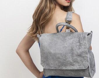 Grey Leather Backpack, School Backpack, Women backpack, Rucksack, Laptop Backpack, Messenger bag, SPECIAL PRICE!