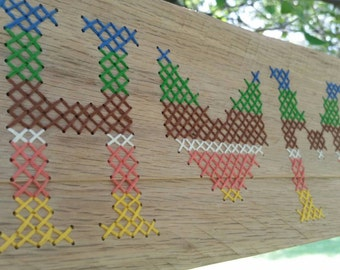 Wooden Sign- Cross stitch, Home- Fall Edition