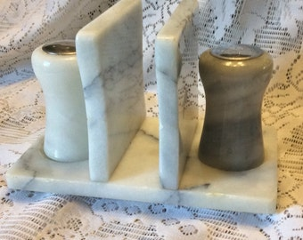 Alabaster salt pepper shakers napkin holder.